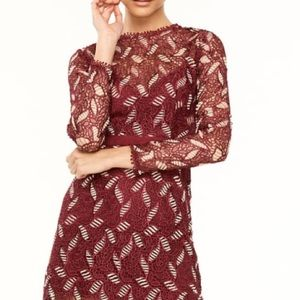 Talulah burgundy and gold lace dress
